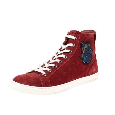0baa3f4d7749 NIB LOUIS VUITTON Red Suede Peace High Top Sneakers Shoes 7 US 40 EU