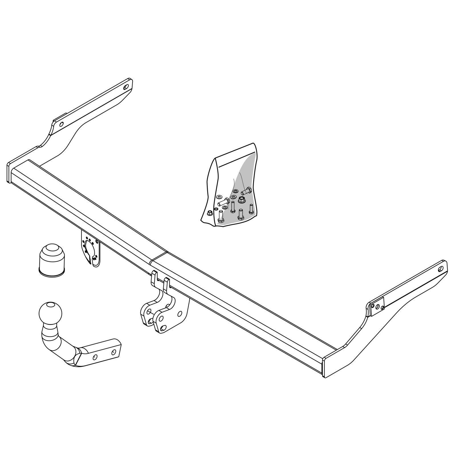 details about brink towbar for peugeot 206 hatchback 1998-2008 - swan neck tow  bar