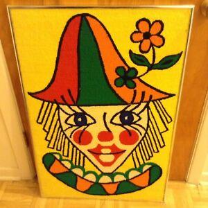 Tableau brodé clown