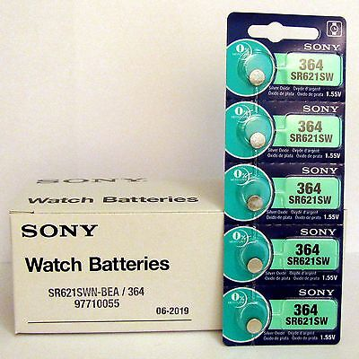 5 NEW SONY 364 SR621SW SR621 V364 LR621 SR60 Watch Battery EXP 09-2020 - FRESH