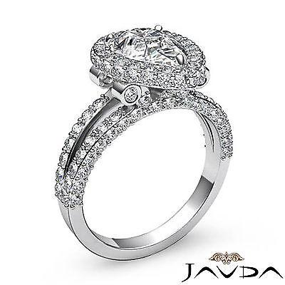 Bridge Accent Halo Pave Bezel Set Pear Diamond Engagement Ring GIA H SI1 2.52Ct 1