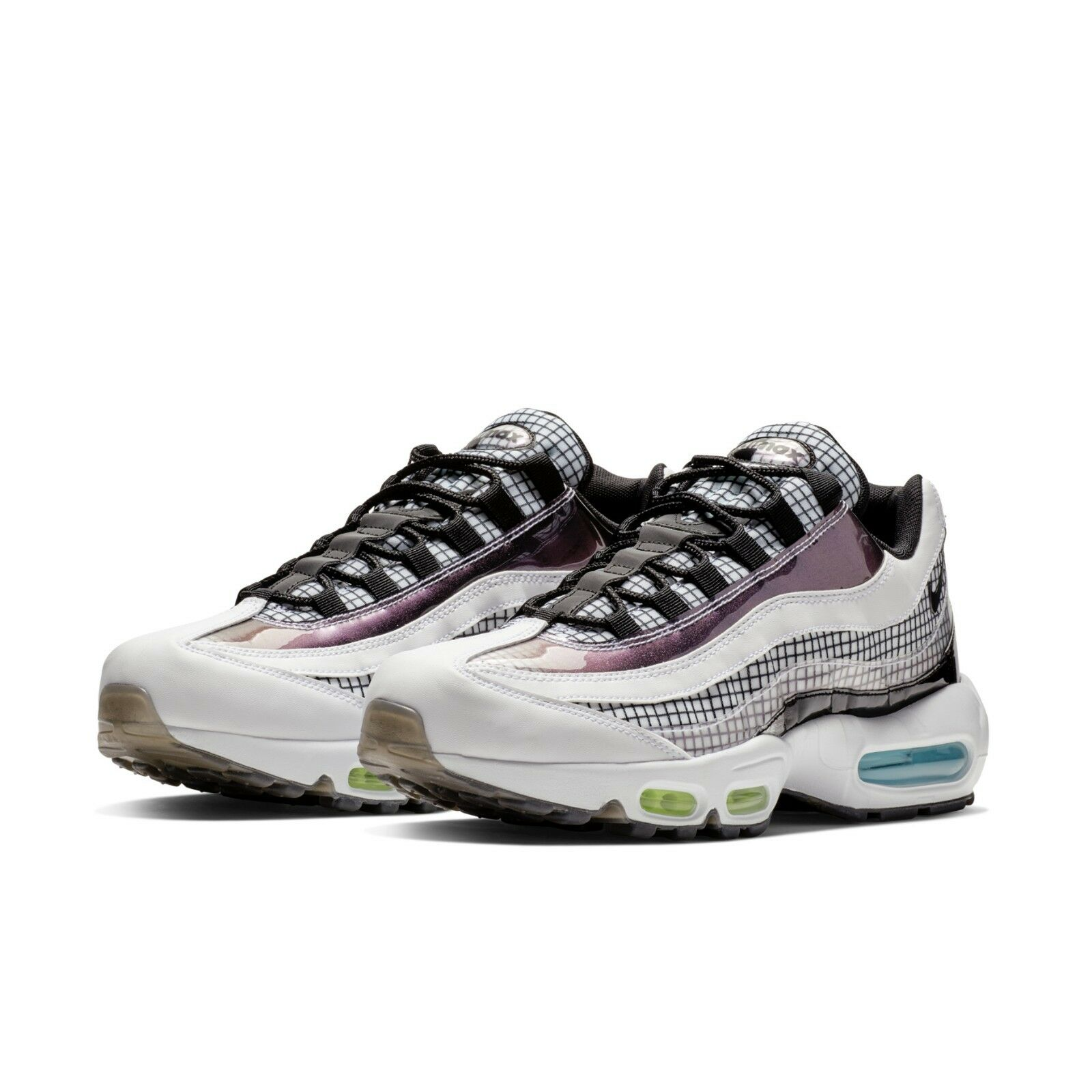Details about Nike Mens Air Max 95 LV8 Grid Pack White Black Blue Gaze Sneakers AO2450 100
