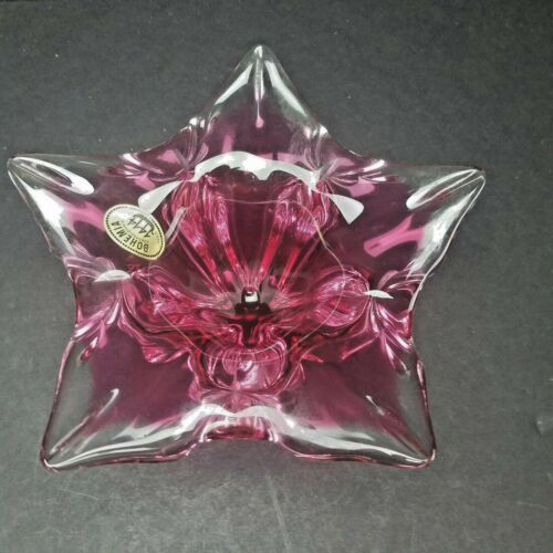 "Bohemian Art Glass Cranberry Pink Star 8 1/2"" CANDY DISH Heavy"