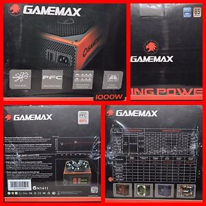 GAMEMAX 1000W MODULAR ATX POWER SUPPLY 14CM FAN 4x 26a 12v RAILS 2x 8 PIN VIDEO
