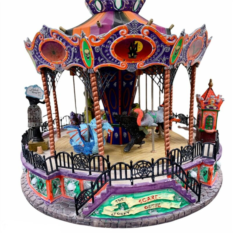 Lemax Spooky Town SPOOKY SCARE-OUSEL!Carousel Halloween Retired READ DES