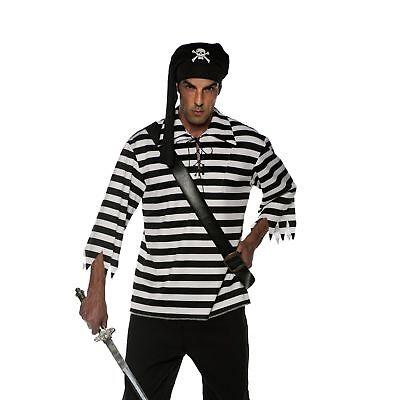 Striped Carribean Pirate Shirt White & Black Adult Men's Costume Accessory XL