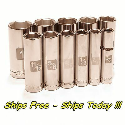 Craftsman 11pc Piece 3/8 Drive 6pt Deep SAE Inch Laser Etch Easy Read Socket Set