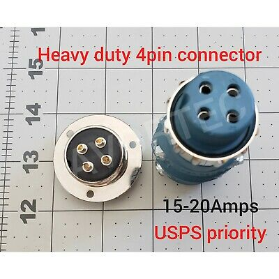 Heavy Duty Connector 4 Pin Malefemale Receptacle Silver Round Mount 15-20amps