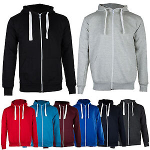 New-Mens-Plain-Zip-Fleece-Hoodie-Hooded-Hoody-Top-Jacket-BIG-Size-S-M-L-XL-XXL