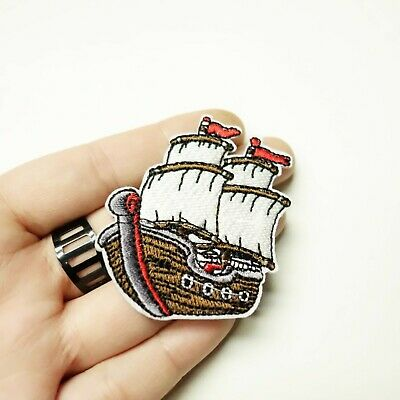 Pirate Ship Patch Iron-On/Sew-On Embroidered Applique, Small Cute, Punk Goth Alt - Cute Pirate