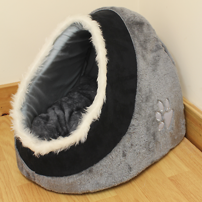 Grey & Black Warm Fleece Igloo Pet Bed with Fur Trim For Dog/Puppy/Cat/Kitten