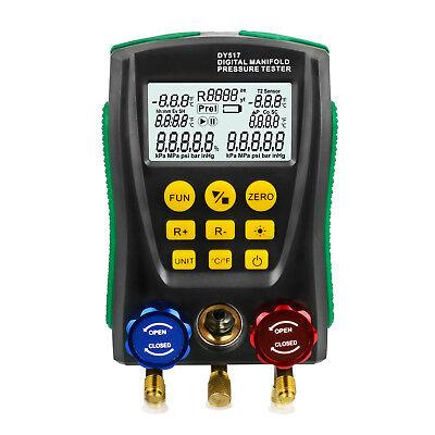 Digital Refrigeration Manifold Gauge Hvac Vacuum Pressure Meter No Pipes Clips