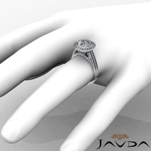 2.7ct Bezel Round Diamond Engagement Halo Pave Ring GIA F VS2 14k White Gold 3