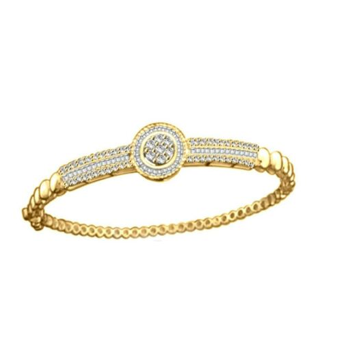 1.07 ct Round & Baguette Diamond Halo Bangle Bracelet in 14K Yellow Gold Over