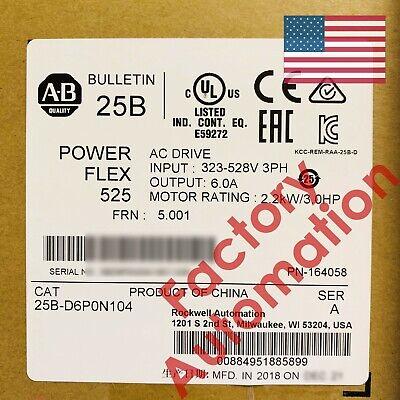 20182019 Us Stock Allen-bradley Powerflex 525 2.2kw 3hp Ac Drive 25b-d6p0n104