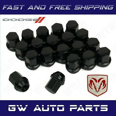 "20 DODGE BLACK LUG NUTS 14X1.5 RAM 1500 DURANGO OEM FACTORY LUGS 1.5"" TALL"