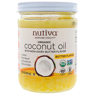 Nutiva Organic Coconut Oil Butter Flavor 14 fl oz 414 ml B Corp, - Nut Flavor Oil