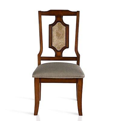 Brown Wood Side Chair - SLEEPLACE Marble & Wood-Seat Side Chair/Light Brown  42MC01M