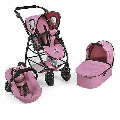 Bayer Chic 2000 3 in 1 Kombi Puppenwagen Emotion All In Jeans pink NEU