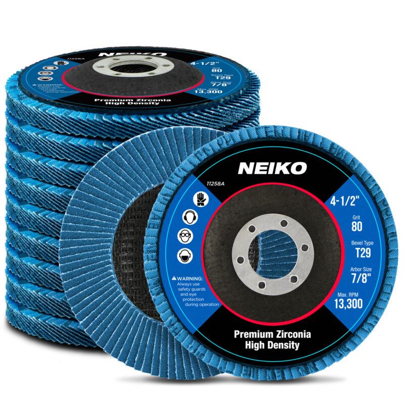 "Neiko 10PC 4-1/2"" x 7/8"" High Density Zirconia Flap Disc | 80 Grit Bevel T29"