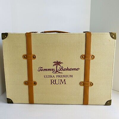 """VTG TOMMY BAHAMA EXTRA PREMIUM RUM 19"""" TAN FABRIC SUITCASE RETAIL STORE DISPLAY"""