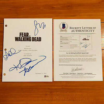 FEAR THE WALKING DEAD SIGNED PILOT SCRIPT x4 KIM DICKENS, ALYCIA D CAREY w/PROOF