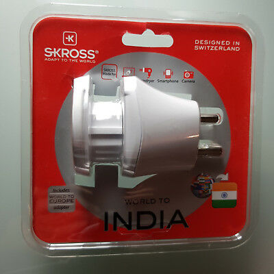 Skross Mains Plug Travel Adapter World to India for sale  London