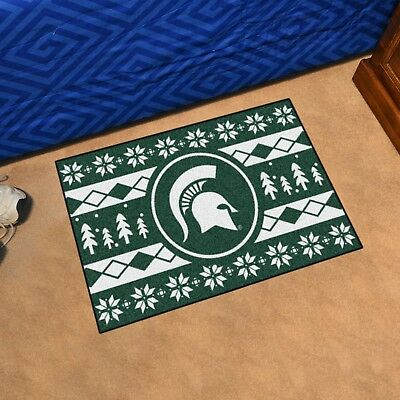 """Michigan State Spartans Holiday Sweater Design 19"""" X 30"""" Starter Area Rug Mat"""