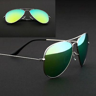 Aviator Sunglasses Vintage Mirror Lens New Mens Women Fashion Frame Retro Green