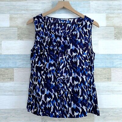 Halogen Silk Printed Shell Blouse Top Blue White Ruffle Sleeveless Womens Medium Ruffle Printed Shell