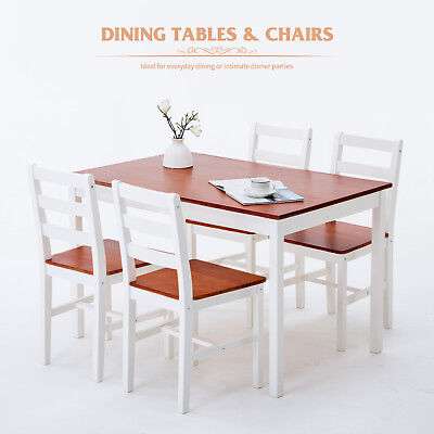 Solid Pine Wood Dining Table and 4 Chairs Kitchen Dining Room Furniture Set