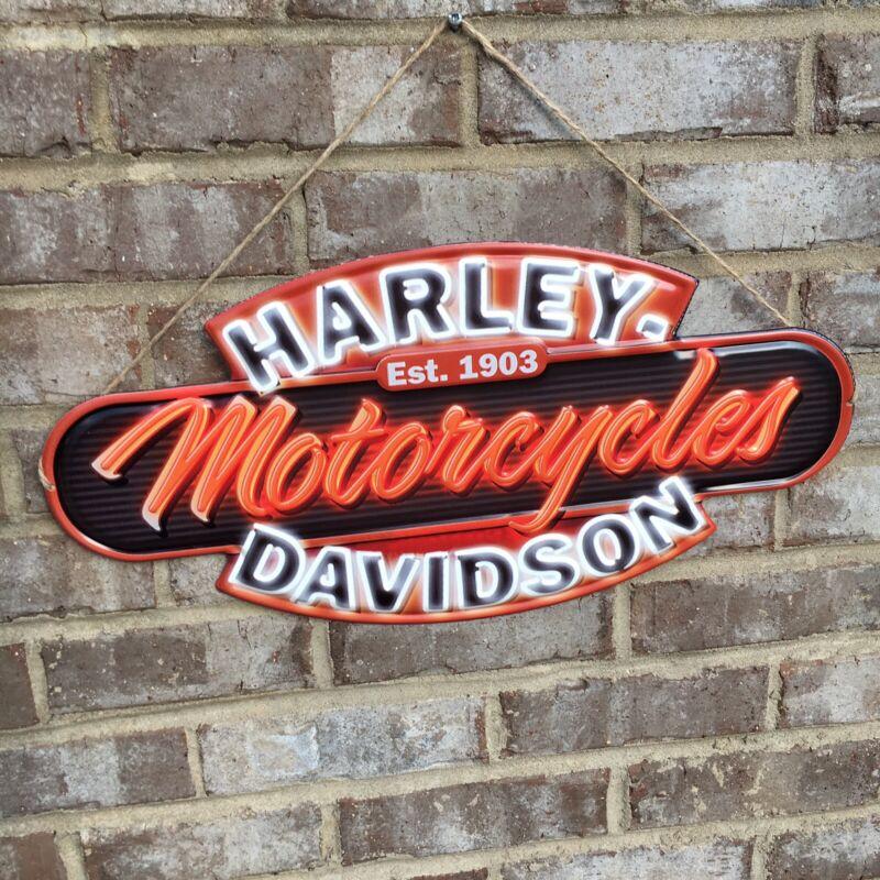 Harley Davidson Motorcycles Est. 1903 Embossed Metal Sign Orange White Man Cave