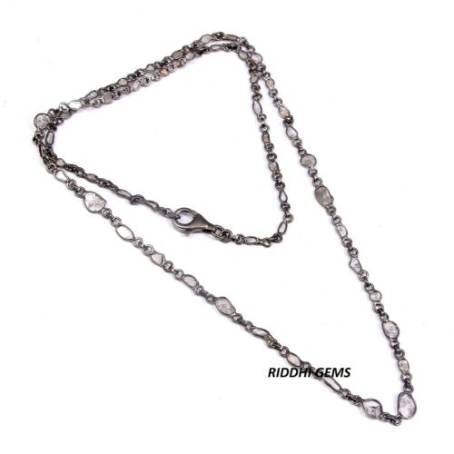 925 Sterling Silver Natural Diamond Polki Chain Necklace Women Jewelry