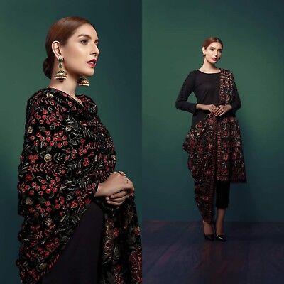 Bareeze Pakistani Wedding Bridal Winter Embroidered Velvet Shawl Scarf Black