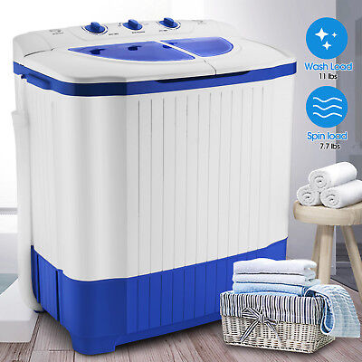 18.7lbs Carriable Mini Twin Tub Compact Washing Machine Washer Spin Dryer W/ Hose