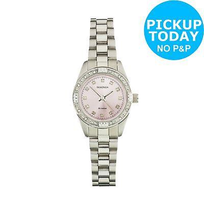 Sekonda Ladies Pink Sunray Dial Stone Set Watch