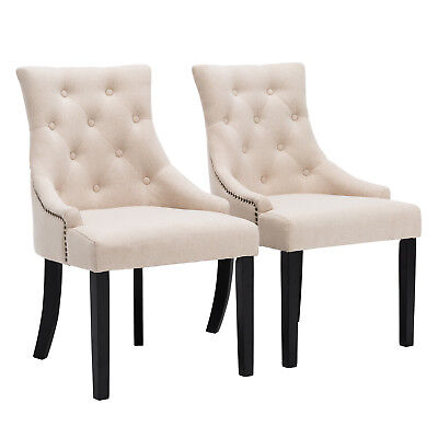 Dining Room Set of 2 Dining Chairs Button Tufted Beige Pattern Fabric