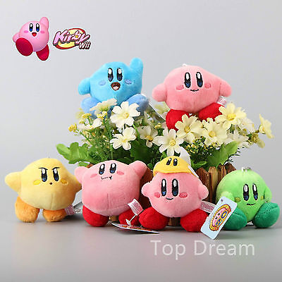 "Set of 6pcs Nintendo BANPRESTO KIRBY Lovely 7.5cm/3"" Strap Soft Plush Doll Toy"