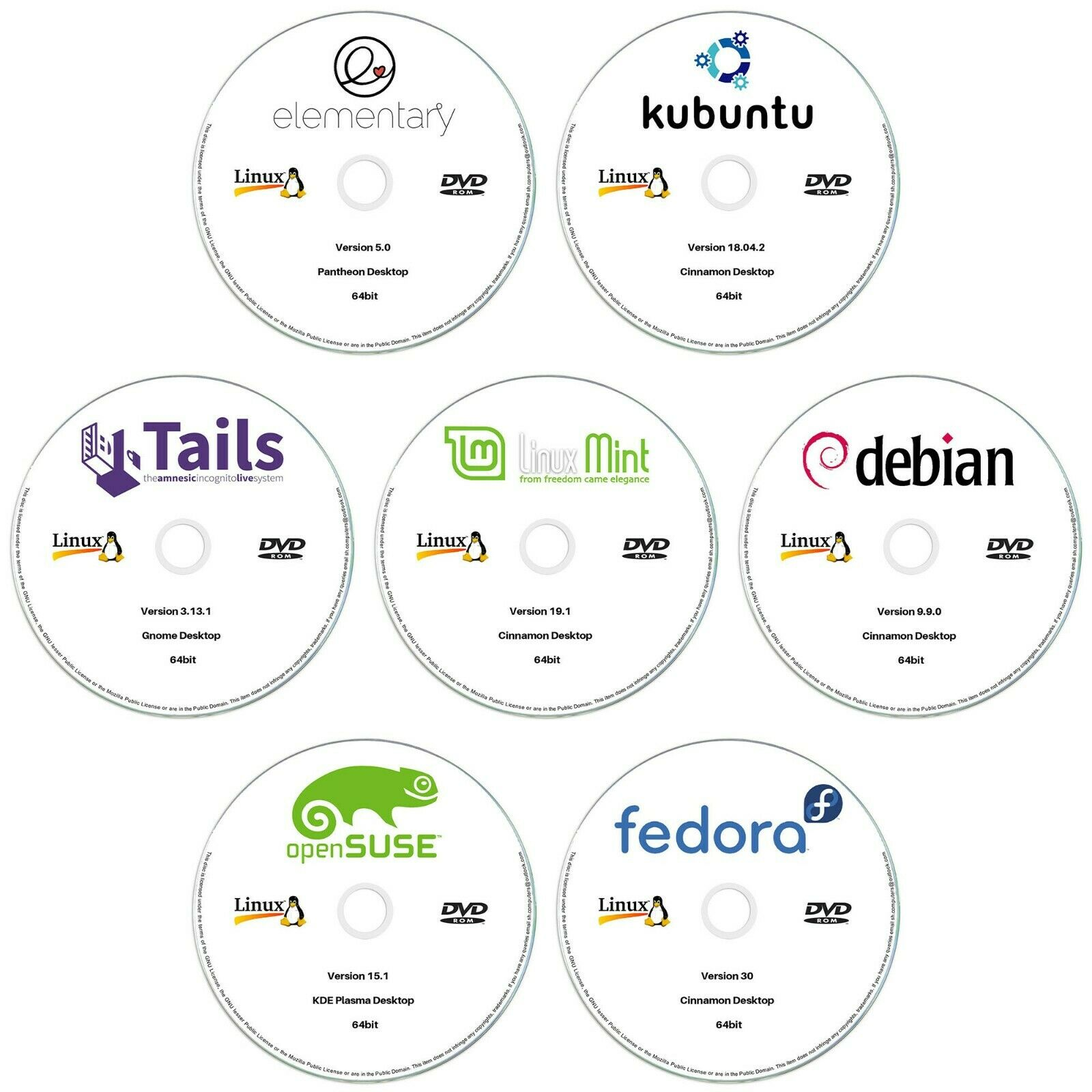 7 x Linux DVD Collection 64bit Kubuntu, Linux Mint, Debian, OpenSUSE & More