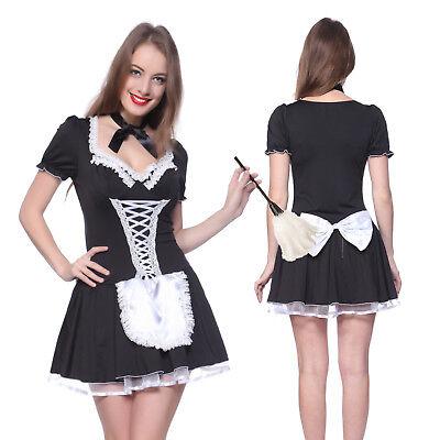 Französisch Dienstmädchen Hausmädchen Kostüm Minikleid  Gr.M L XL mit Halsband