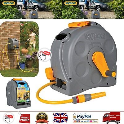 Hozelock Compact 2in1 Reel with 25m Hose Carry Handle Tap Hose Connector Nozzle
