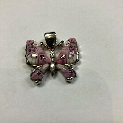 Alan K. Millefiori Enamel Butterfly 925 Sterling Silver Pendant Sterling Silver Enamel Butterfly Pendant