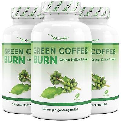 3x Green Coffee Bean Grüner Kaffee = 540 vegane Kapseln - Fatburner & Diät GCA