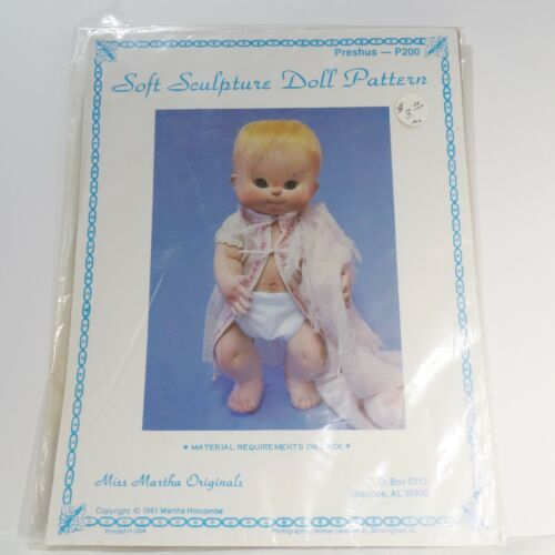 "Soft Sculpture Doll Pattern for 20"" Preshus by Miss Martha Originals & eyes"