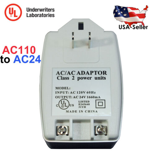 AC 24V 1660mA 40VA Transformer Adapter AC110V to AC24V Convert with UL Certified