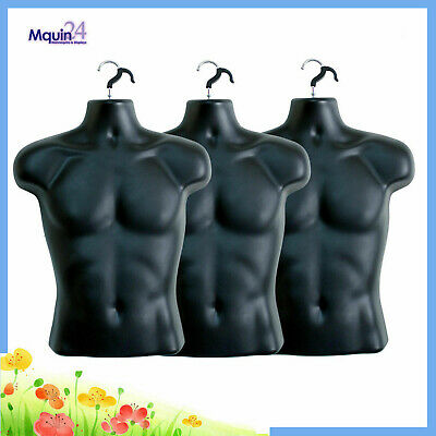 3 Mannequin Male - Lot Of 3 Black Plastic Male Hanging Body Forms With 3 Hooks
