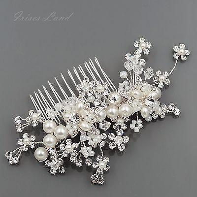Bridal Hair Comb Pearl Crystal Headpiece Hair Clip Wedding Accessories 00407 S
