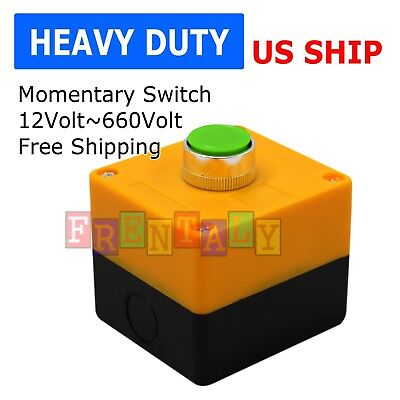 Cased Box Push Button Red Green Switch Momentary On Off Heavy Duty Push Button