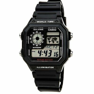 Casio Unisex Watch Classic World Timer Grey Digital Dial Strap AE1200WH-1A