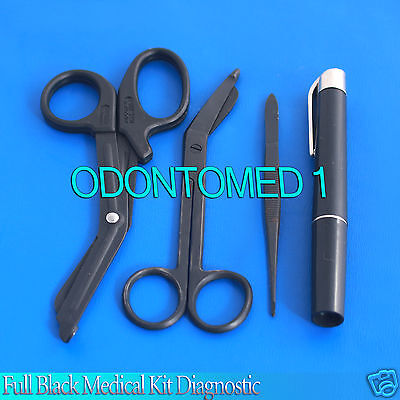 Full Black Medical Kit Diagnostic Emt Nursing Surgical Ems Student Paramedic